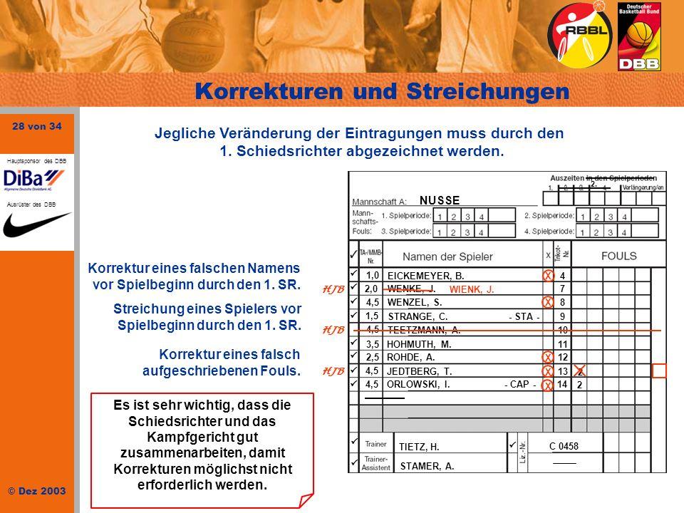 28 von 34 © Dez 2003 Hauptsponsor des DBB Ausrüster des DBB NUSSE 1,0 EICKEMEYER, B.4 2,0 WENKE, J.. 7 4,5WENZEL, S.8 1,5 STRANGE, C. - STA -9 4,5 TEE