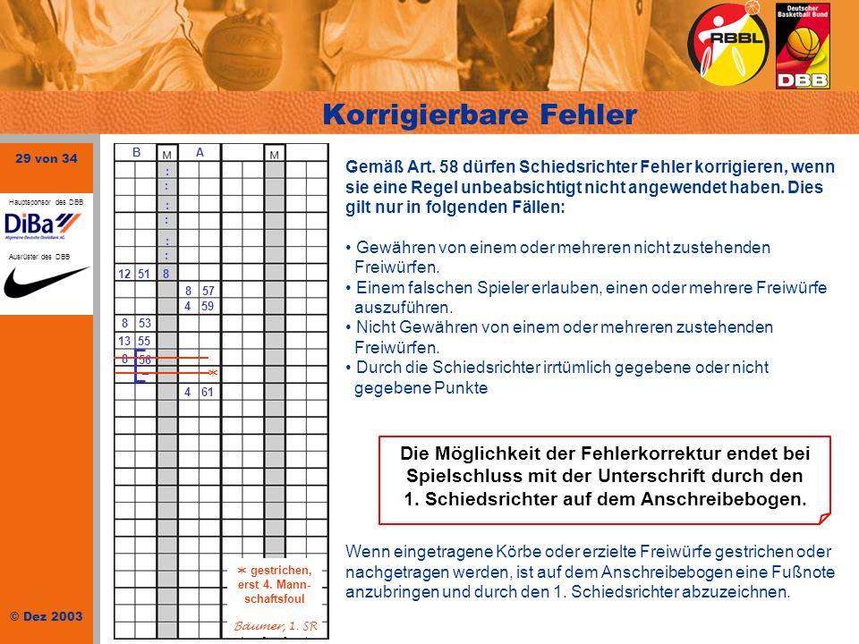 29 von 34 © Dez 2003 Hauptsponsor des DBB Ausrüster des DBB : : B A : : : : 51128 857 459 853 1355 461 8 56 – Korrigierbare Fehler gestrichen, erst 4.