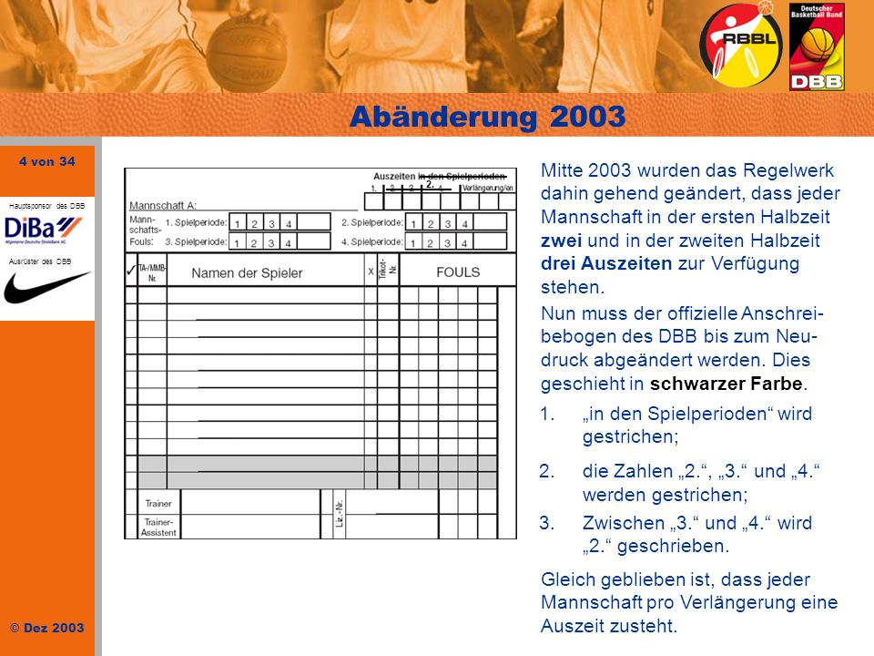 4 von 34 © Dez 2003 Hauptsponsor des DBB Ausrüster des DBB Abänderung 2003 2. Mitte 2003 wurden das Regelwerk dahin gehend geändert, dass jeder Mannsc