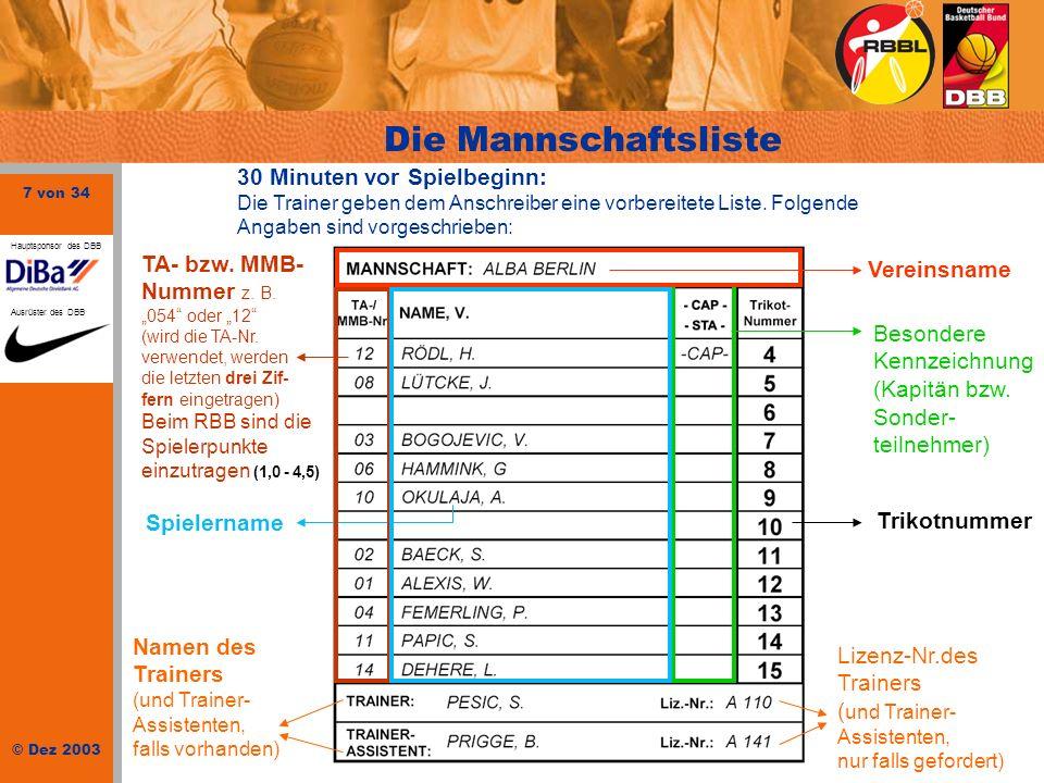 7 von 34 © Dez 2003 Hauptsponsor des DBB Ausrüster des DBB Vereinsname 30 Minuten vor Spielbeginn: Die Trainer geben dem Anschreiber eine vorbereitete