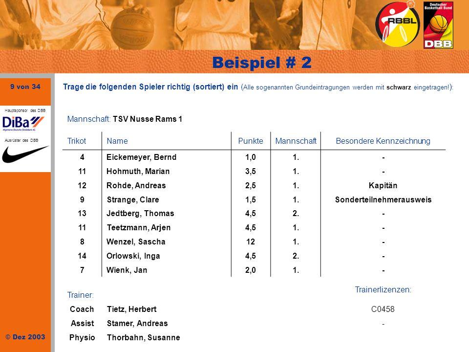 9 von 34 © Dez 2003 Hauptsponsor des DBB Ausrüster des DBB Beispiel # 2 Mannschaft: TSV Nusse Rams 1 TrikotNamePunkteMannschaftBesondere Kennzeichnung
