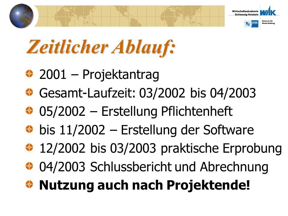 Zeitlicher Ablauf: 2001 – Projektantrag Gesamt-Laufzeit: 03/2002 bis 04/2003 05/2002 – Erstellung Pflichtenheft bis 11/2002 – Erstellung der Software