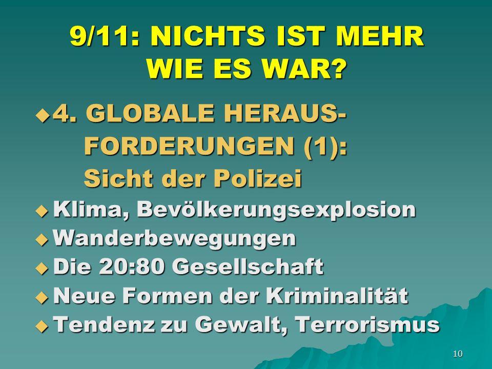 10 9/11: NICHTS IST MEHR WIE ES WAR. 4. GLOBALE HERAUS- 4.