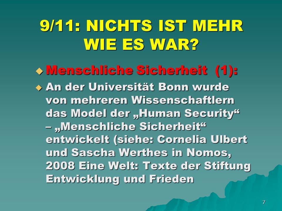 18 9/11: NICHTS IST MEHR WIE ES WAR.AKTUELLE MEGATRENDS (4): AKTUELLE MEGATRENDS (4): 7.