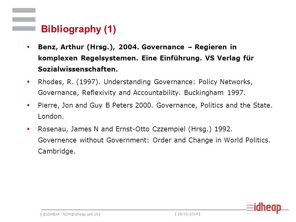 | ©IDHEAP - NOM@idheap.unil.ch | | 28/03/2014 | Bibliography (1) Benz, Arthur (Hrsg.), 2004.