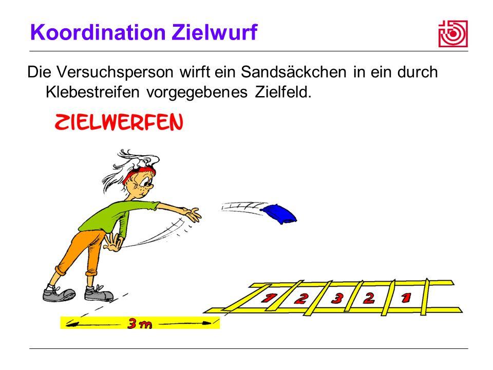 Koordination Zielwurf Die Versuchsperson wirft ein Sandsäckchen in ein durch Klebestreifen vorgegebenes Zielfeld.