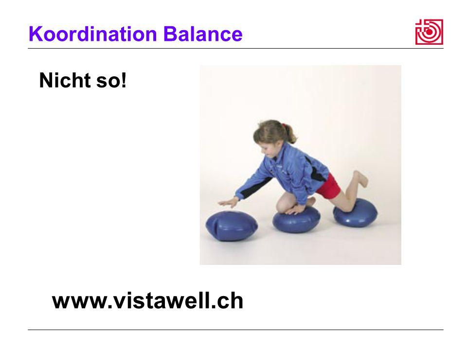 Koordination Balance Nicht so! www.vistawell.ch