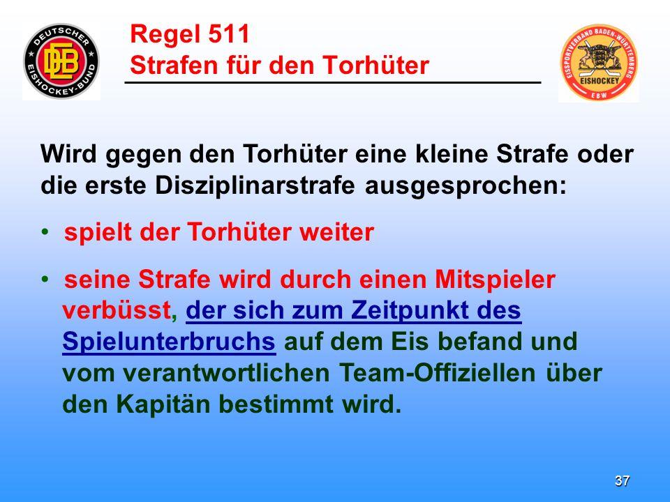 36 Regel 511 Strafen für den Torhüter Ein Torhüter geht nie auf die Strafbank.