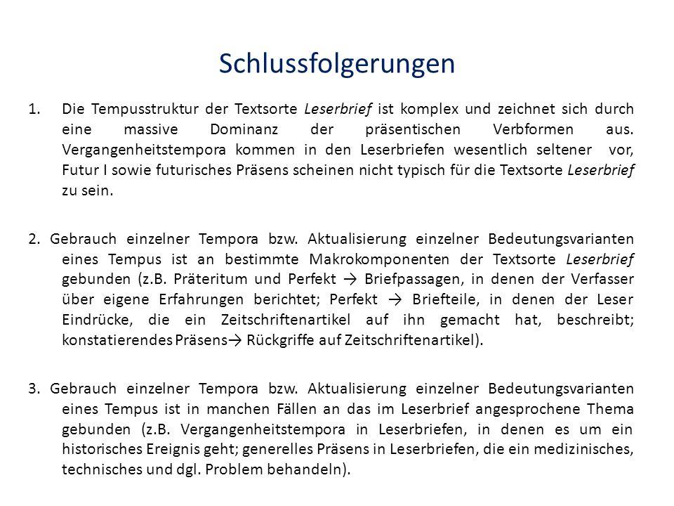 Schlussfolgerungen 1.Die Tempusstruktur der Textsorte Leserbrief ist komplex und zeichnet sich durch eine massive Dominanz der präsentischen Verbforme