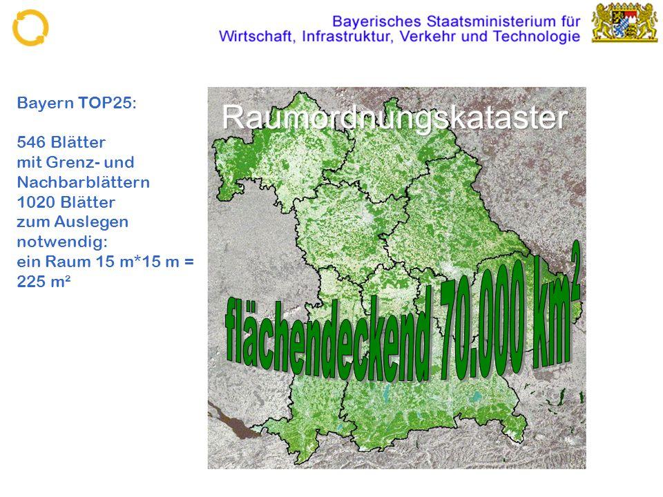 Bayern TOP25: 546 Blätter mit Grenz- und Nachbarblättern 1020 Blätter zum Auslegen notwendig: ein Raum 15 m*15 m = 225 m²