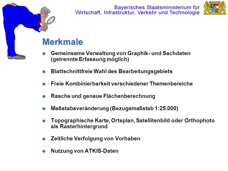 Merkmale Gemeinsame Verwaltung von Graphik- und Sachdaten (getrennte Erfassung möglich) Blattschnittfreie Wahl des Bearbeitungsgebiets Freie Kombinier