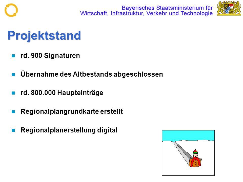 Projektstand rd. 900 Signaturen Übernahme des Altbestands abgeschlossen rd. 800.000 Haupteinträge Regionalplangrundkarte erstellt Regionalplanerstellu