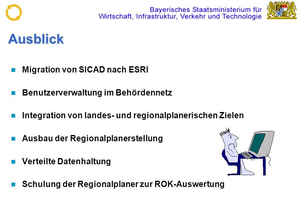 Ausblick Migration von SICAD nach ESRI Benutzerverwaltung im Behördennetz Integration von landes- und regionalplanerischen Zielen Ausbau der Regionalp