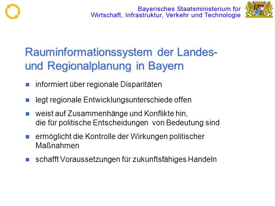 Rauminformationssystem der Landes- und Regionalplanung in Bayern informiert über regionale Disparitäten legt regionale Entwicklungsunterschiede offen