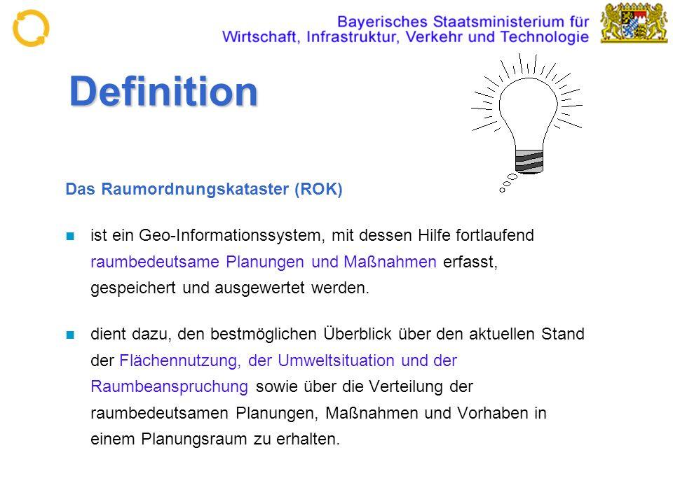 Definition Das Raumordnungskataster (ROK) ist ein Geo-Informationssystem, mit dessen Hilfe fortlaufend raumbedeutsame Planungen und Maßnahmen erfasst,