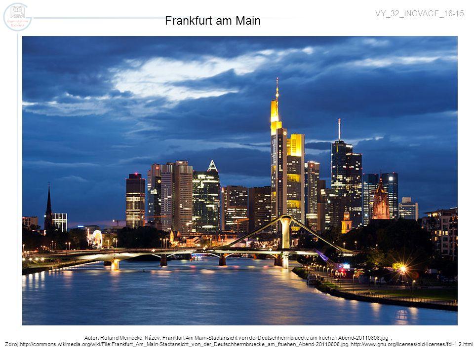 Zugspitze 2962 m Zugspitzbahn Autor: Roland Meinecke, Název: Frankfurt Am Main-Stadtansicht von der Deutschherrnbruecke am fruehen Abend-20110808.jpg,