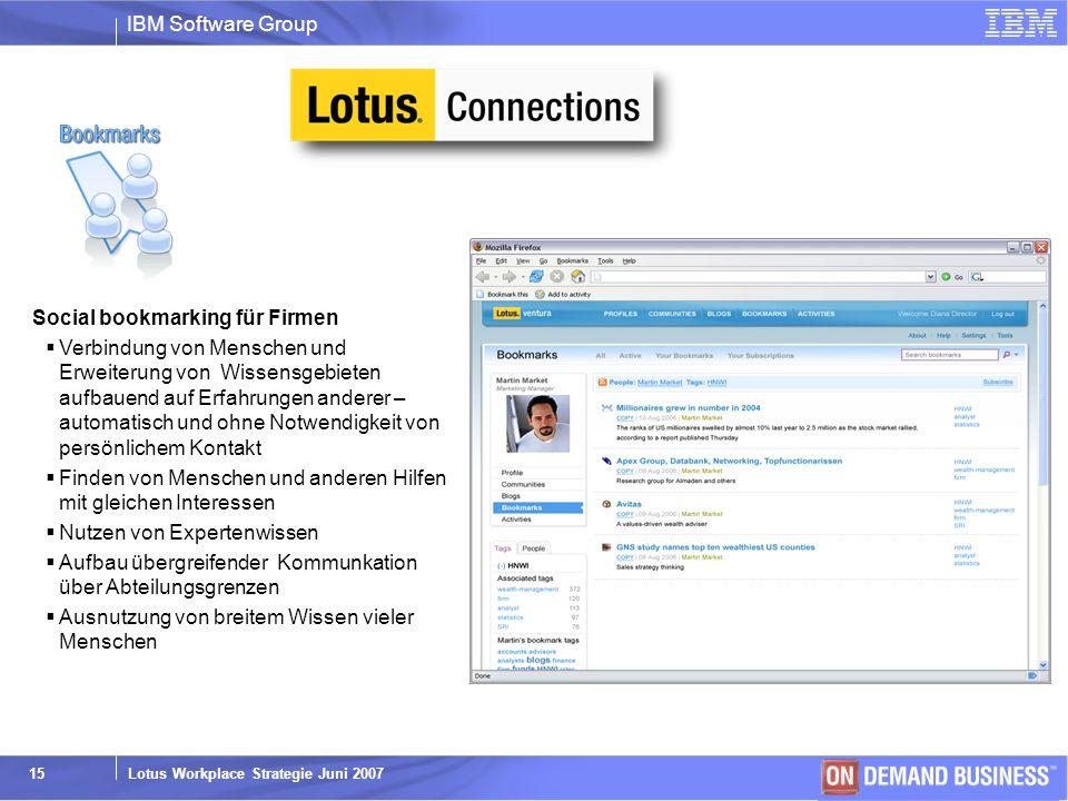 IBM Software Group © 2003 IBM Corporation Lotus Workplace Strategie Juni 2007 15 Social bookmarking für Firmen Verbindung von Menschen und Erweiterung