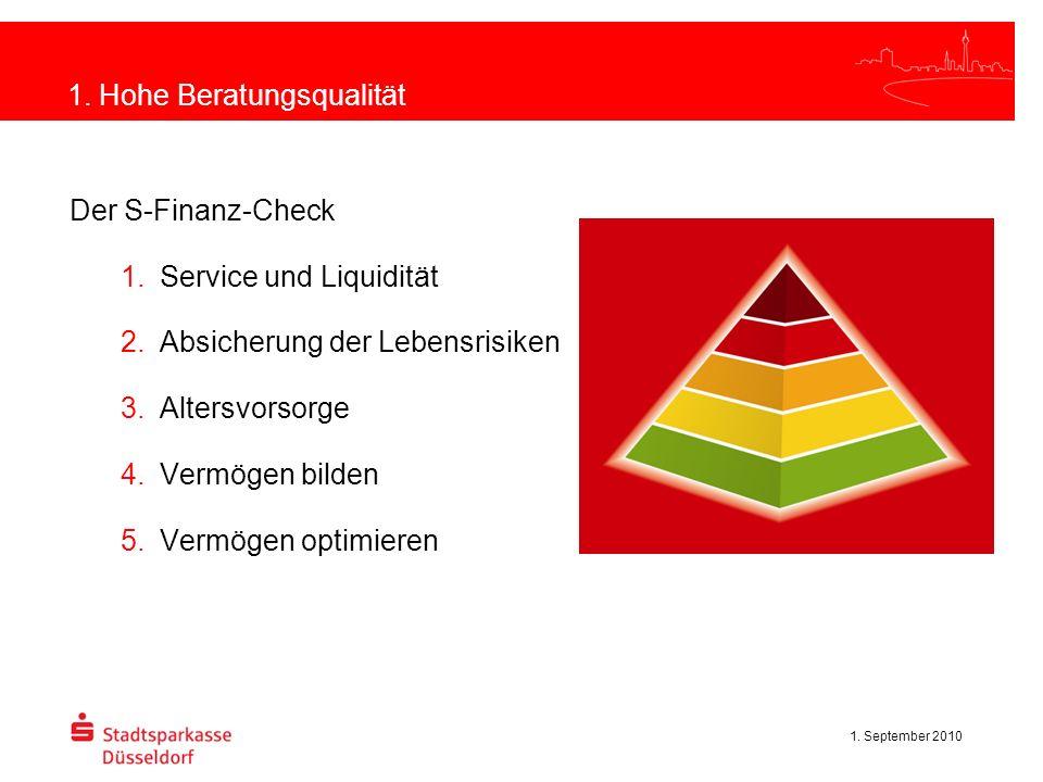 1. September 2010 1. Hohe Beratungsqualität Der S-Finanz-Check Service und Liquidität Absicherung der Lebensrisiken Altersvorsorge Vermögen bilden Ver
