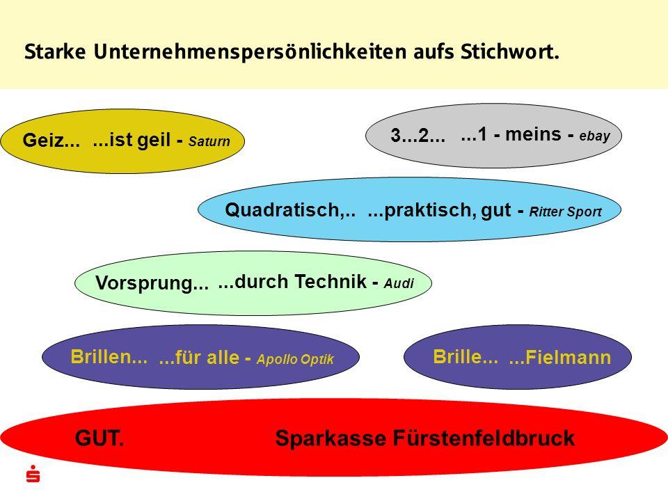 Starke Unternehmenspersönlichkeiten aufs Stichwort. Vorsprung......durch Technik - Audi Brille......Fielmann Quadratisch,.....praktisch, gut - Ritter