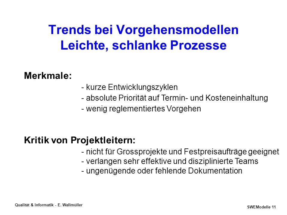 SWEModelle 10 Qualität & Informatik - E. Wallmüller Schlanke Prozesse Beispiel eXtrem Programming [www.xprogramming.com], [www.xprogramming.org] - kei