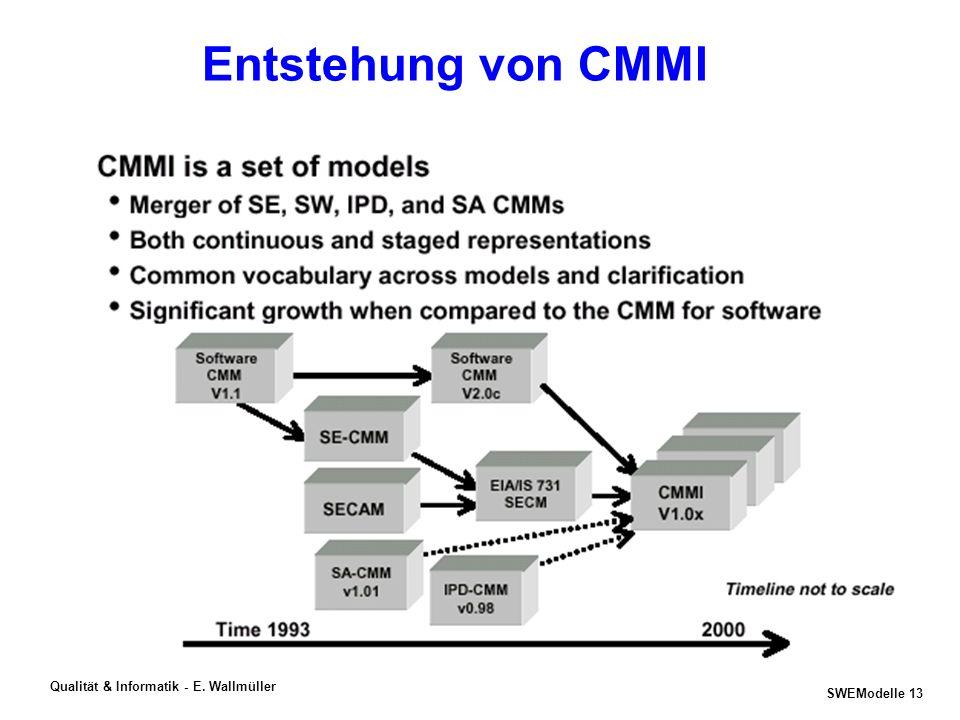SWEModelle 12 Qualität & Informatik - E. Wallmüller Prozessbewertungs- und -verbesserungsmodelle SEI SW-CMM, CMMI V1.1 ISO 15504 (SPICE) BOOTSTRAP V3.