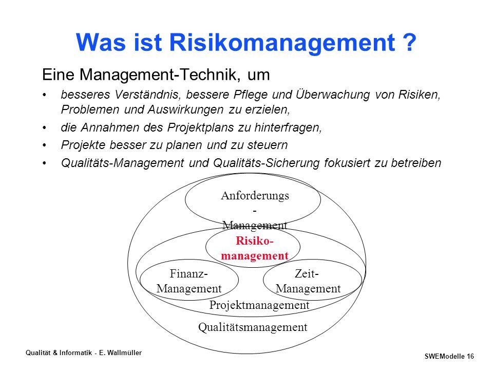SWEModelle 15 Qualität & Informatik - E. Wallmüller Aktuelle Trends im Software-Qualitätsmanagement Risk Management, ITBSC, QFD,... 2