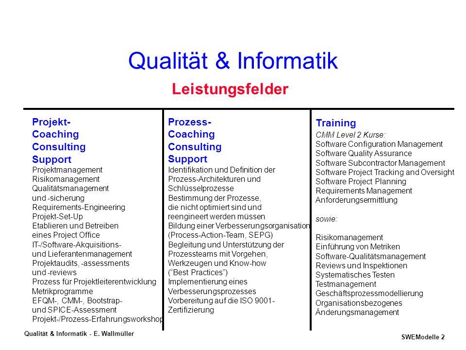 SWEModelle 1 Qualität & Informatik - E. Wallmüller Aktuelle Trends im Software- Qualitätsmanagement Copyright © Dr. Ernest Wallmüller QUALITÄT & INFOR