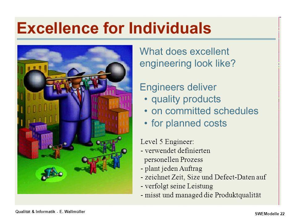 SWEModelle 21 Qualität & Informatik - E. Wallmüller Excellence für Software- organisationen -Implementieren EFQM, CMM/CMMI, PSP, TSP, P-CMM,.... -Iden