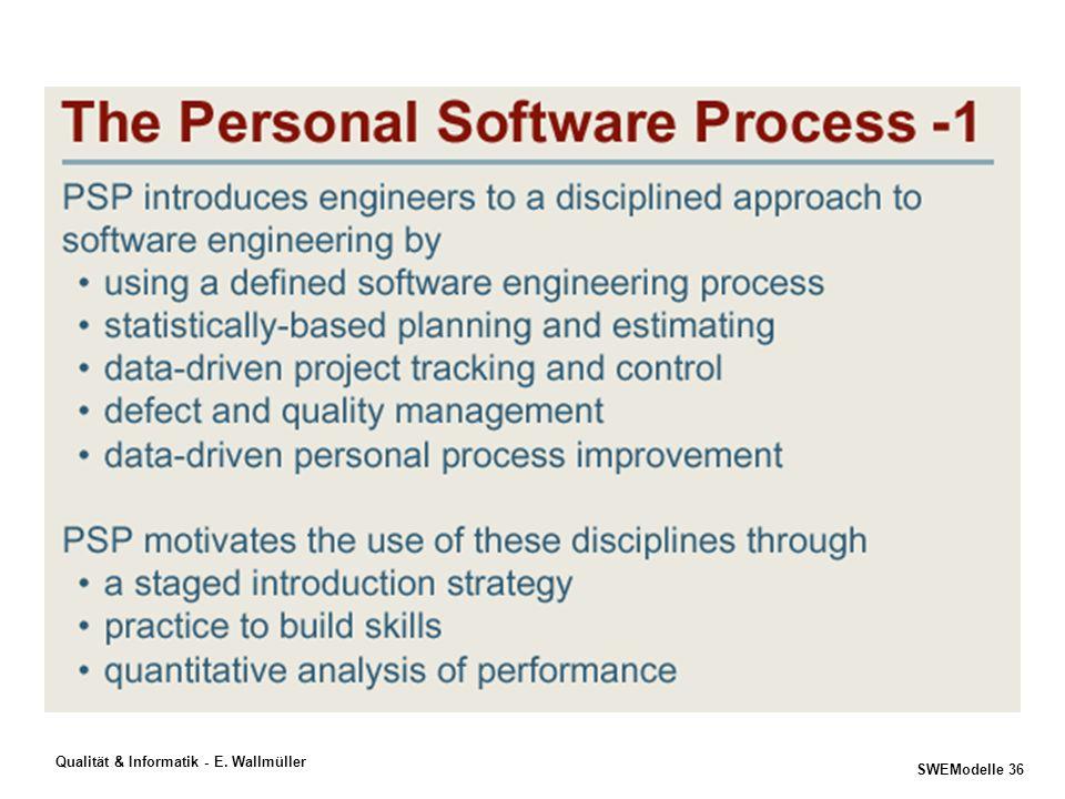 SWEModelle 35 Qualität & Informatik - E. Wallmüller Idee Produkt Prozess Projekt 3 wichtige Fragen am Anfang Ihres Projekts... 2) Wie sieht Ihr Prozes