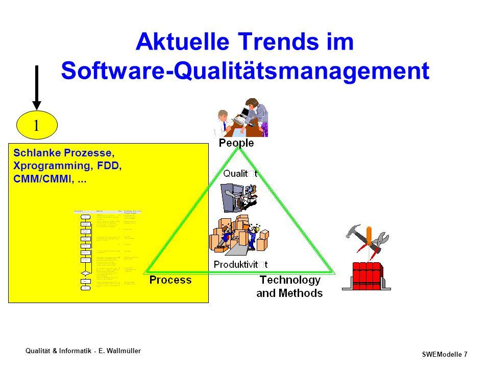 SWEModelle 6 Qualität & Informatik - E. Wallmüller Aktuelle Trends im Software-Qualitätsmanagement PSP, TSP, P-CMM PL-Zertifizierung, PLDP, Excellence