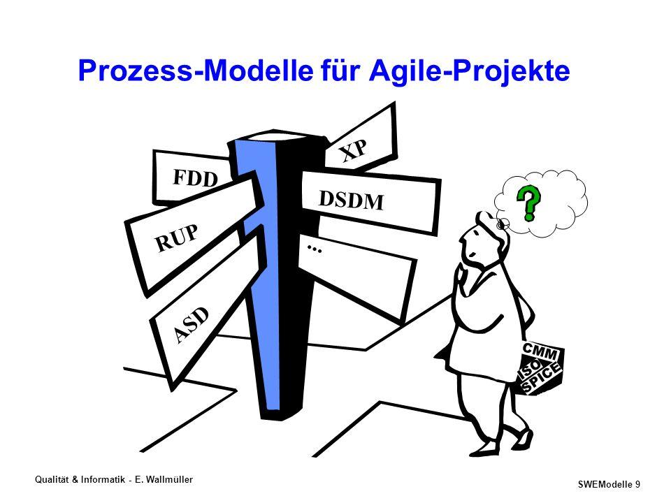 SWEModelle 8 Qualität & Informatik - E. Wallmüller Merkmale von Prozessen in Projekten InputOutput Rollen & Fähigkeiten Tools Erfahrung Methoden WorkP