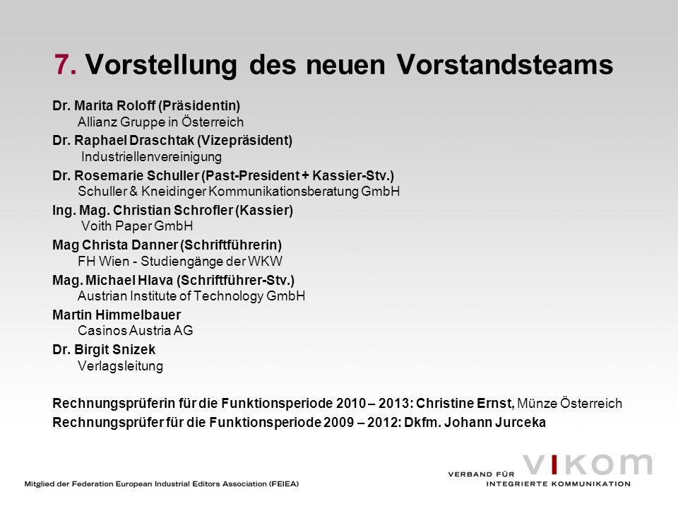 7. Vorstellung des neuen Vorstandsteams Dr. Marita Roloff (Präsidentin) Allianz Gruppe in Österreich Dr. Raphael Draschtak (Vizepräsident) Industriell
