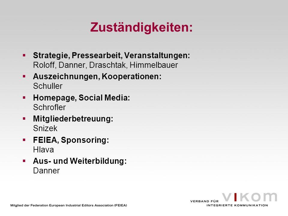 Zuständigkeiten: Strategie, Pressearbeit, Veranstaltungen: Roloff, Danner, Draschtak, Himmelbauer Auszeichnungen, Kooperationen: Schuller Homepage, So