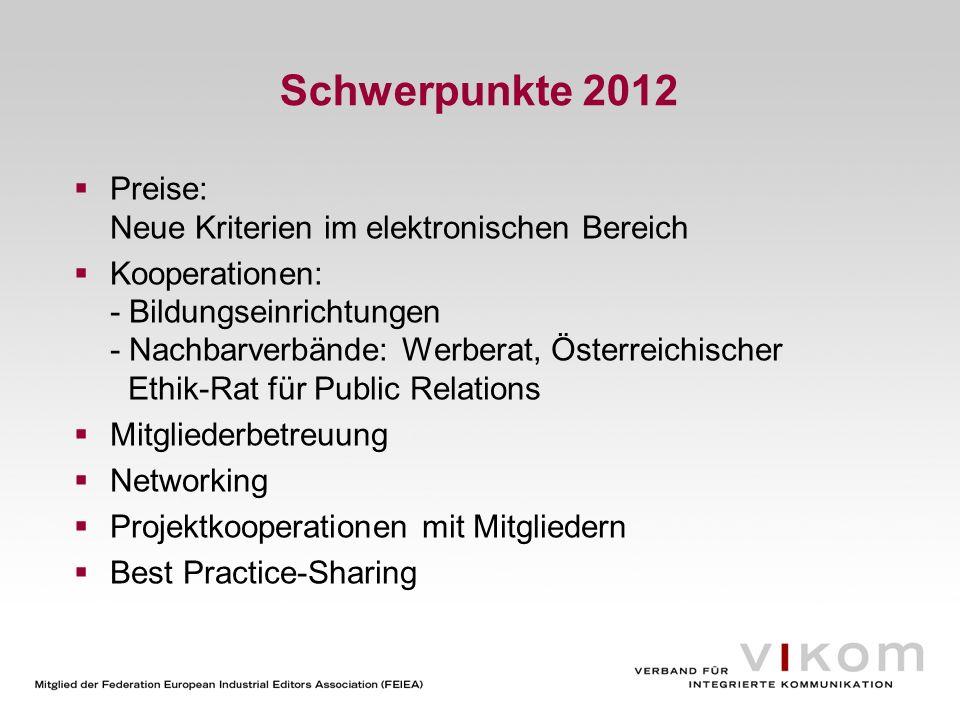 Schwerpunkte 2012 Preise: Neue Kriterien im elektronischen Bereich Kooperationen: - Bildungseinrichtungen - Nachbarverbände: Werberat, Österreichische