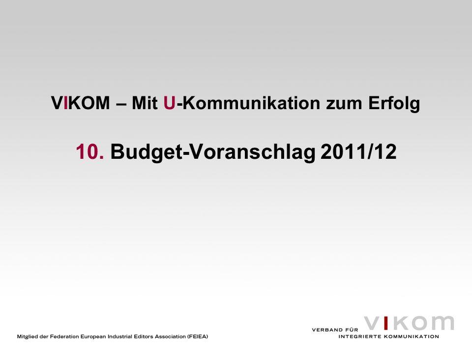 VIKOM – Mit U-Kommunikation zum Erfolg 11. Genehmigung des Budgets