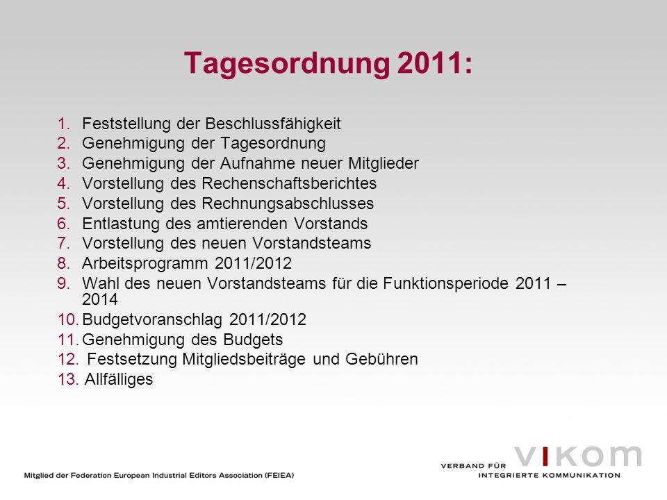 Tagesordnung 2011: 1.Feststellung der Beschlussfähigkeit 2.Genehmigung der Tagesordnung 3.Genehmigung der Aufnahme neuer Mitglieder 4.Vorstellung des