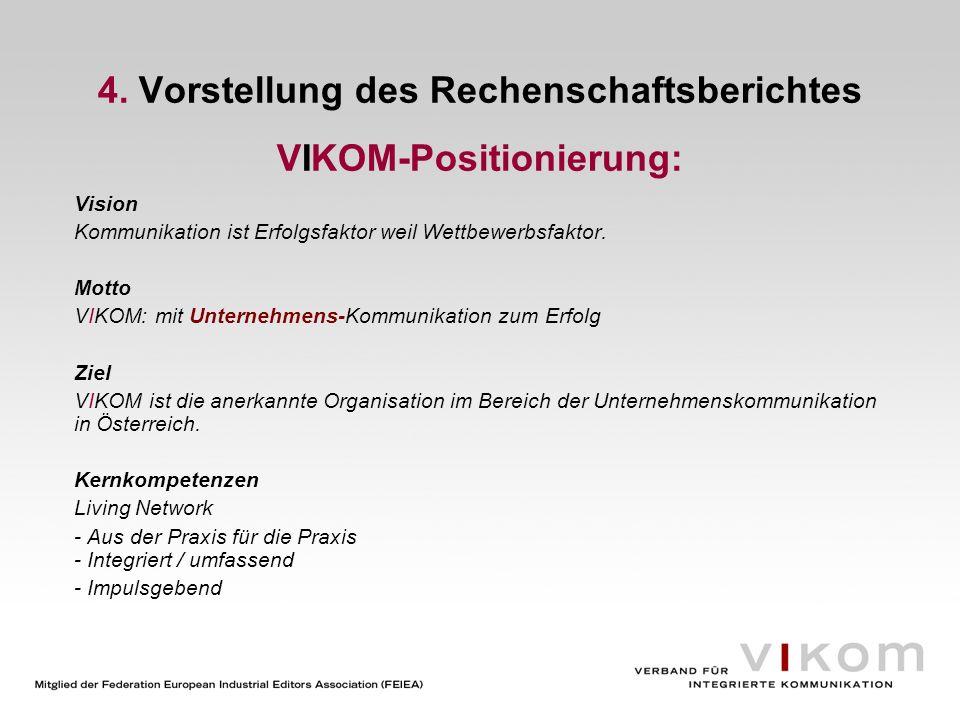 4. Vorstellung des Rechenschaftsberichtes VIKOM-Positionierung: Vision Kommunikation ist Erfolgsfaktor weil Wettbewerbsfaktor. Motto VIKOM: mit Untern
