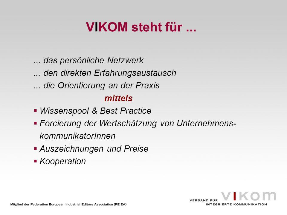 VIKOM steht für...... das persönliche Netzwerk... den direkten Erfahrungsaustausch... die Orientierung an der Praxis mittels Wissenspool & Best Practi