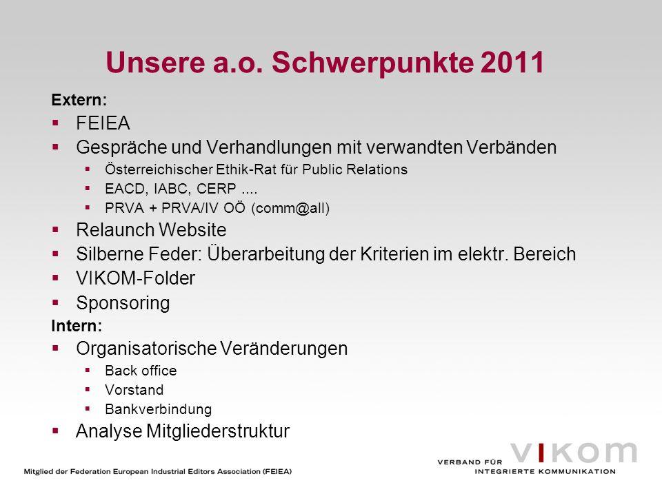 Unsere a.o. Schwerpunkte 2011 Extern: FEIEA Gespräche und Verhandlungen mit verwandten Verbänden Österreichischer Ethik-Rat für Public Relations EACD,