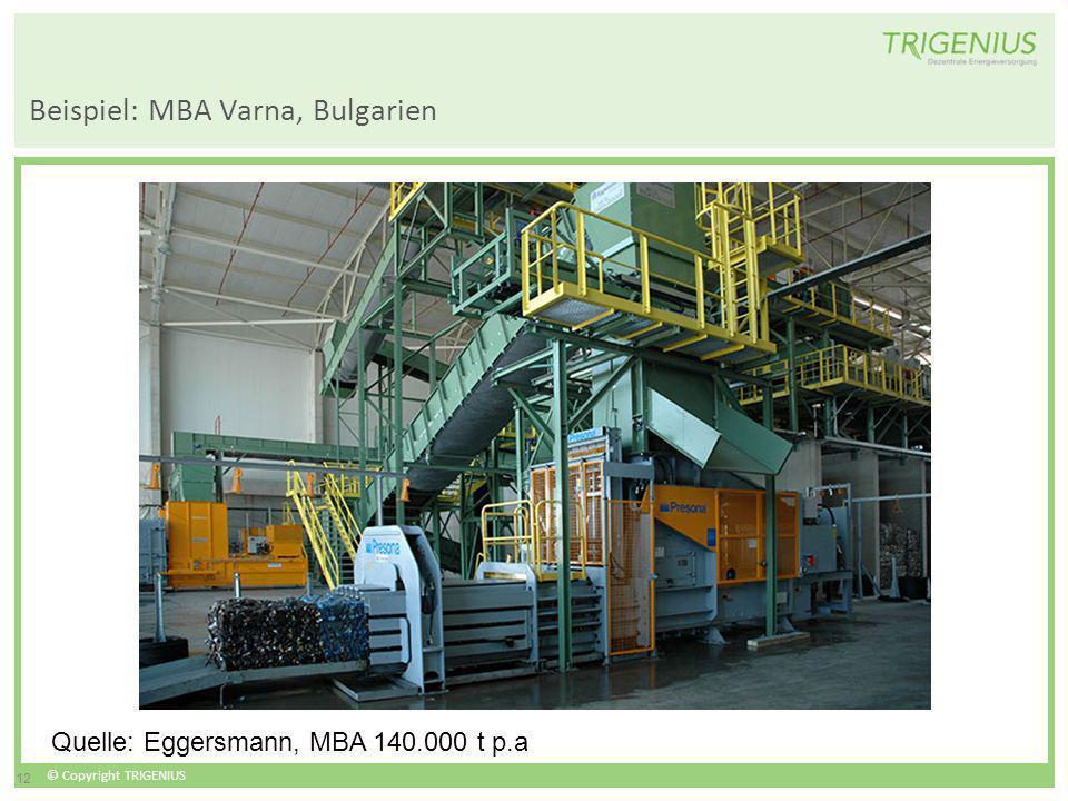 © Copyright TRIGENIUS 12 Beispiel: MBA Varna, Bulgarien Quelle: Eggersmann, MBA 140.000 t p.a