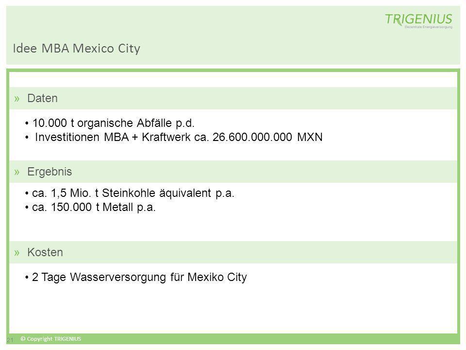 © Copyright TRIGENIUS 21 Idee MBA Mexico City 10.000 t organische Abfälle p.d. Investitionen MBA + Kraftwerk ca. 26.600.000.000 MXN ca. 1,5 Mio. t Ste
