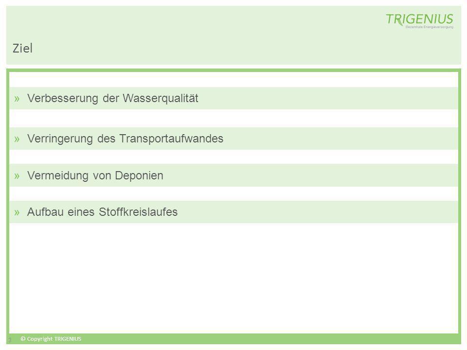 © Copyright TRIGENIUS 3 Ziel »Verbesserung der Wasserqualität »Verringerung des Transportaufwandes »Vermeidung von Deponien »Aufbau eines Stoffkreisla