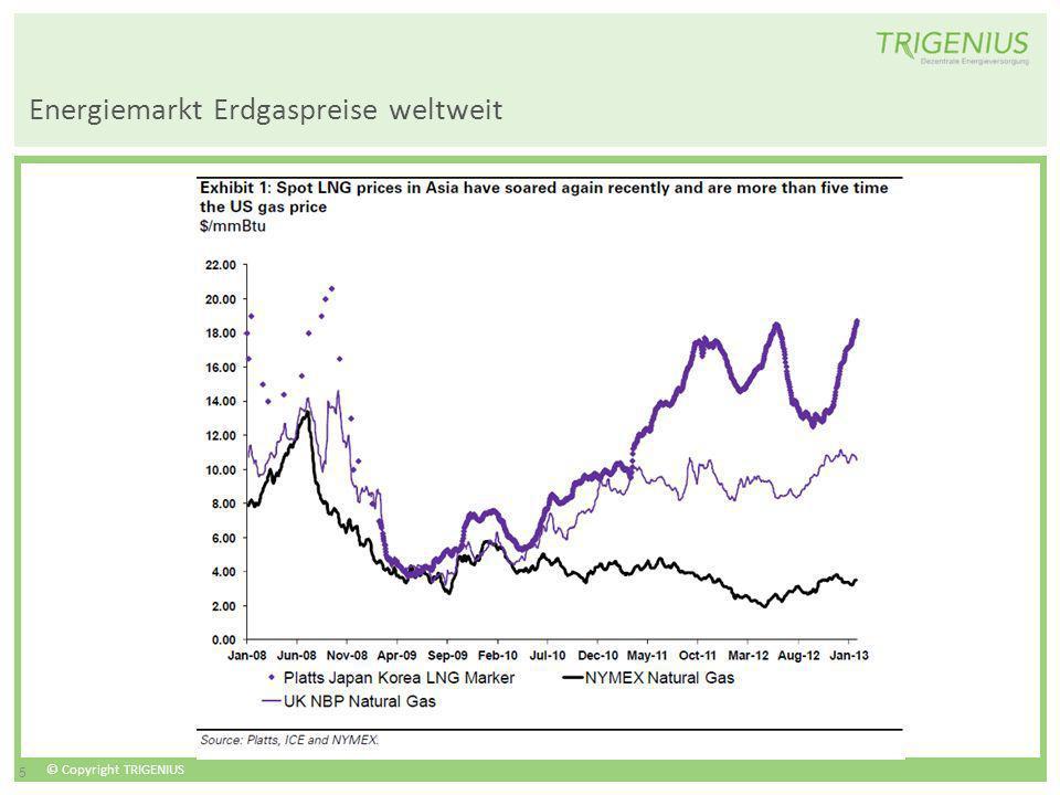 © Copyright TRIGENIUS 5 Energiemarkt Erdgaspreise weltweit