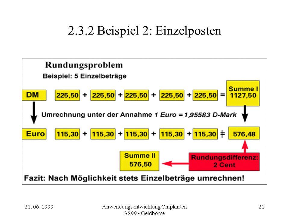 21. 06. 1999Anwendungsentwicklung Chipkarten SS99 - Geldbörse 21 2.3.2Beispiel 2: Einzelposten