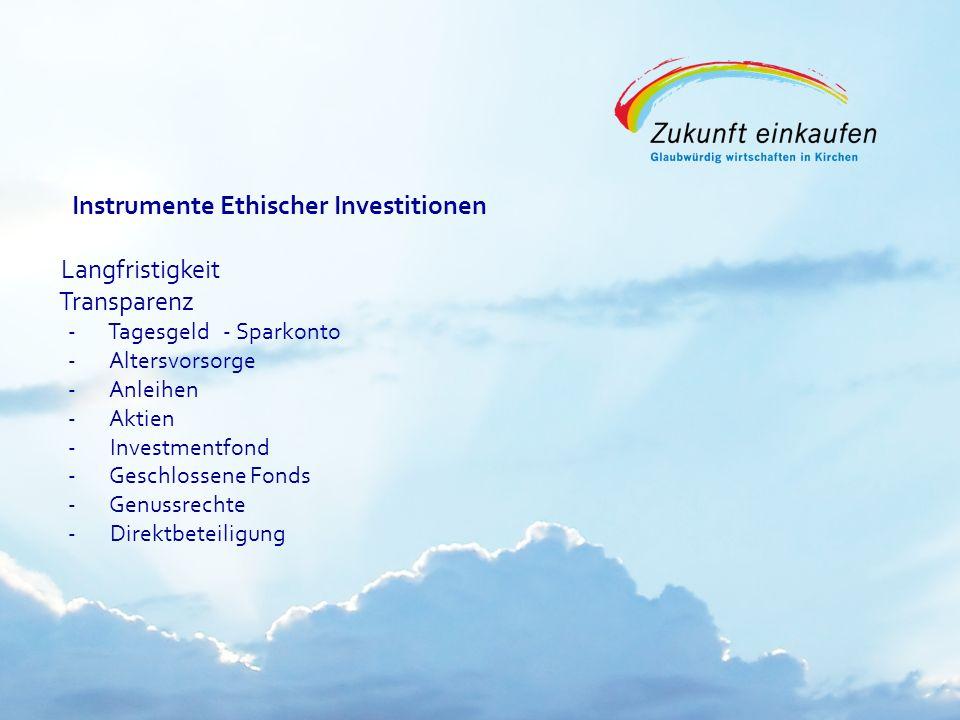 Copyright: EKvW 2008 Instrumente Ethischer Investitionen Langfristigkeit Transparenz - Tagesgeld - Sparkonto - Altersvorsorge - Anleihen - Aktien - In