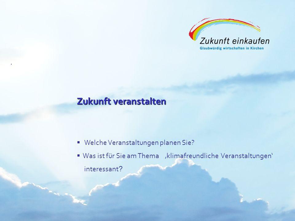 Copyright: EKvW 2008. Zukunft veranstalten Zukunft veranstalten Welche Veranstaltungen planen Sie? Was ist für Sie am Thema klimafreundliche Veranstal