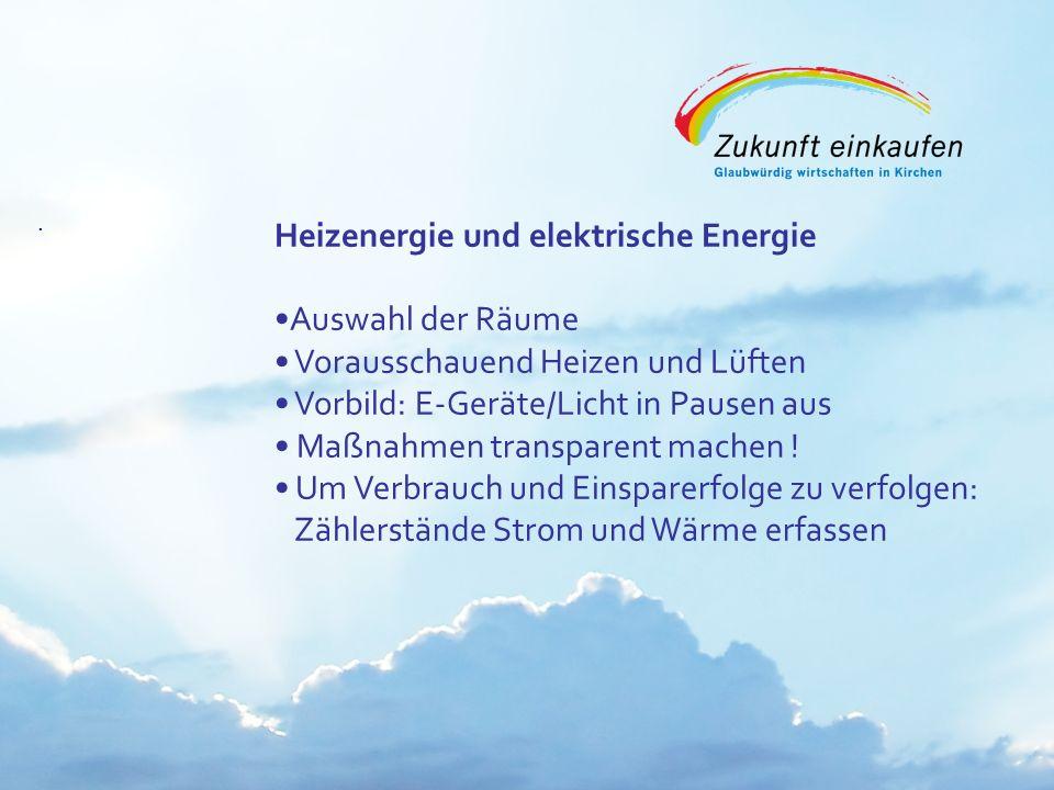 Copyright: EKvW 2008. Heizenergie und elektrische Energie Auswahl der Räume Vorausschauend Heizen und Lüften Vorbild: E-Geräte/Licht in Pausen aus Maß