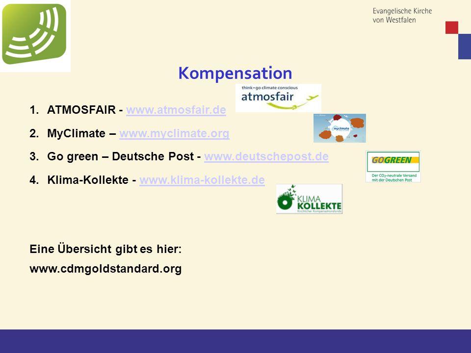 Copyright: EKvW 2008 1.ATMOSFAIR - www.atmosfair.dewww.atmosfair.de 2.MyClimate – www.myclimate.orgwww.myclimate.org 3.Go green – Deutsche Post - www.deutschepost.dewww.deutschepost.de 4.Klima-Kollekte - www.klima-kollekte.dewww.klima-kollekte.de Eine Übersicht gibt es hier: www.cdmgoldstandard.org Kompensation