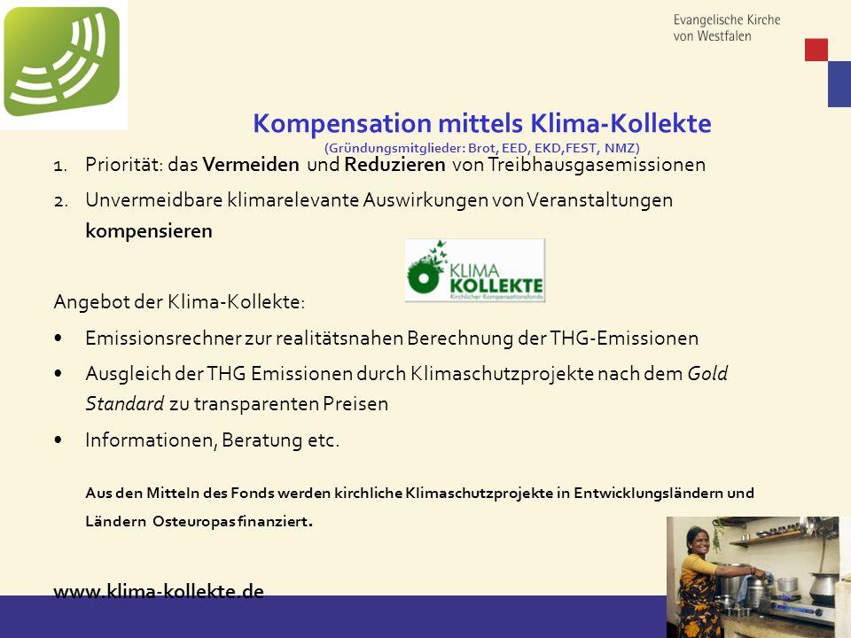 Copyright: EKvW 2008 1.Priorität: das Vermeiden und Reduzieren von Treibhausgasemissionen 2.Unvermeidbare klimarelevante Auswirkungen von Veranstaltun