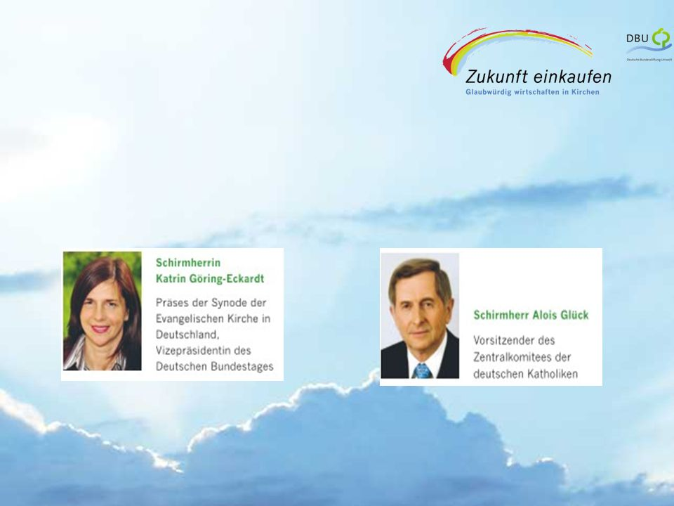 Strategische Partner: Wirtschaftsgesellschaft der Kirchen in Deutschland (WGKD) Arbeitsgemeinschaft der Umweltbeauftragten (AGU) der ev.